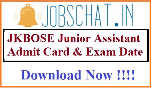 JKBOSE Junior Assistant Admit Card