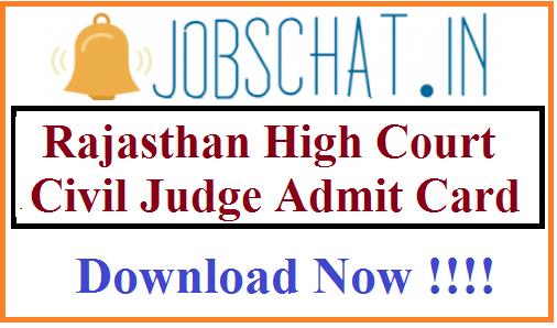 Rajasthan High Court Civil Judge Admit Card