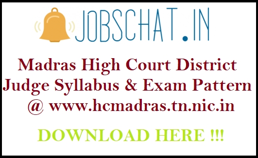 Madras High Court District Judge Syllabus