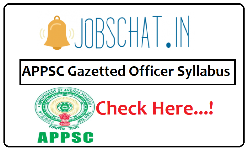APPSC Gazetted Officer Syllabus