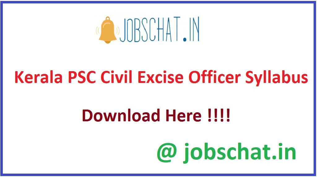Kerala PSC Civil Excise Officer Syllabus