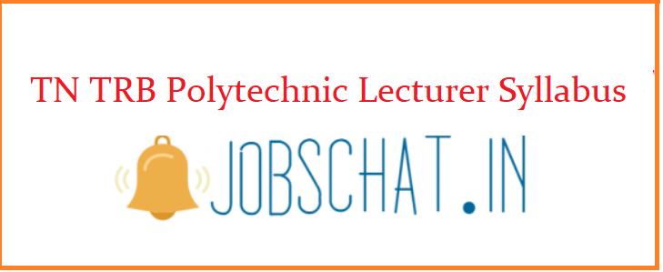 TN TRB Polytechnic Lecturer Syllabus