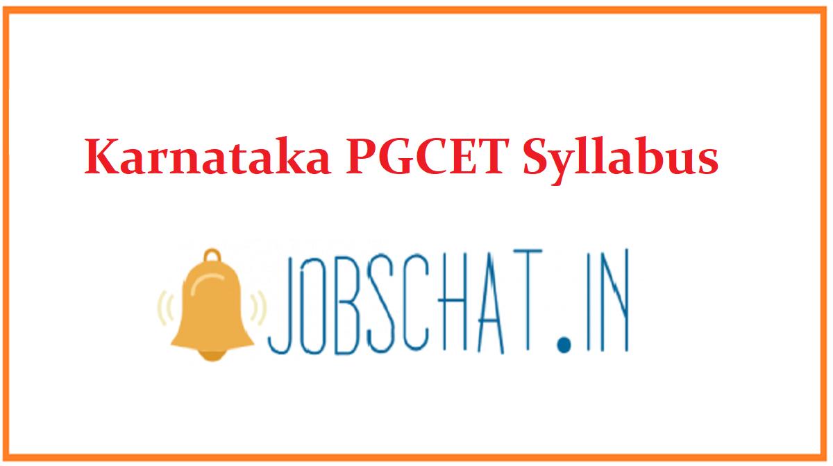 Karnataka PGCET Syllabus
