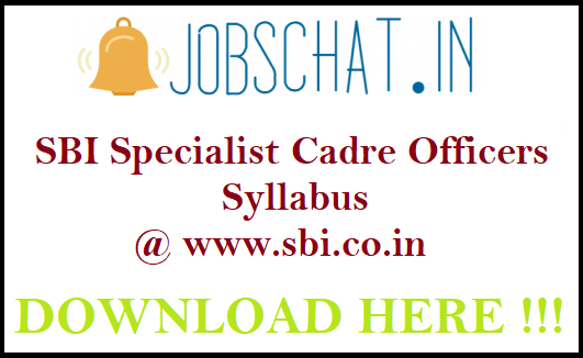 SBI Specialist Cadre Officers Syllabus