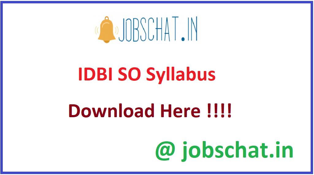 IDBI SO Syllabus
