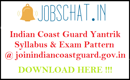 Indian Coast Guard Yantrik Syllabus
