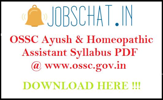 OSSC Ayush Assistant Syllabus