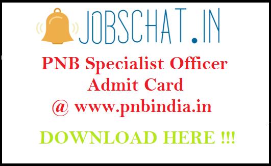 PNB Specialist Officer Admit Card