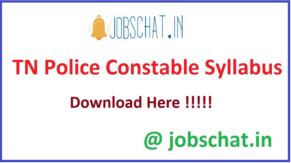 TN Police Constable Syllabus