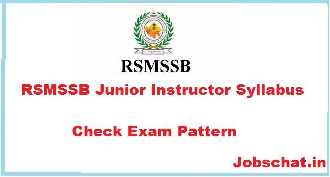 RSMSSB Junior Instructor Syllabus