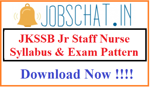 JKSSB Jr Staff Nurse Syllabus