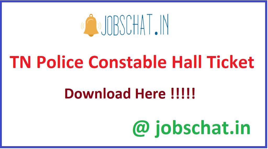 TN Police Constable Hall Ticket