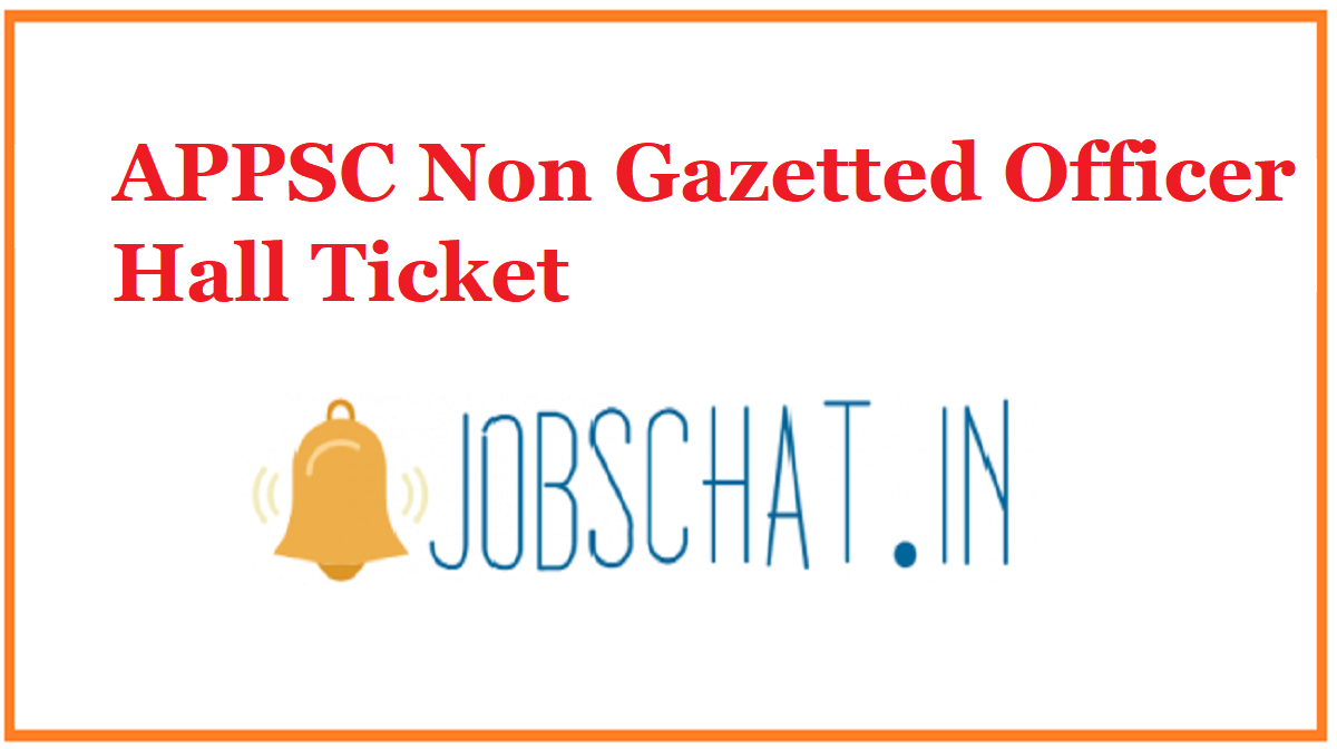 APPSC Non Gazetted Officer Hall Ticket