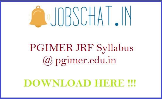 PGIMER JRF Syllabus