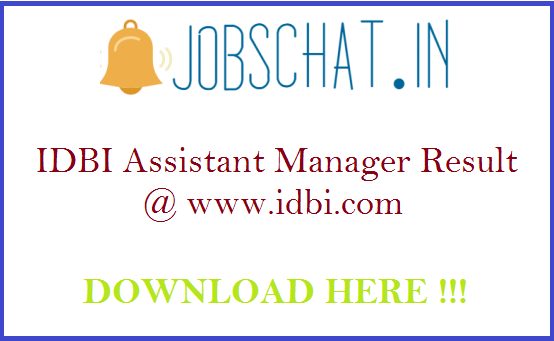 IDBI Assistant Manager Result