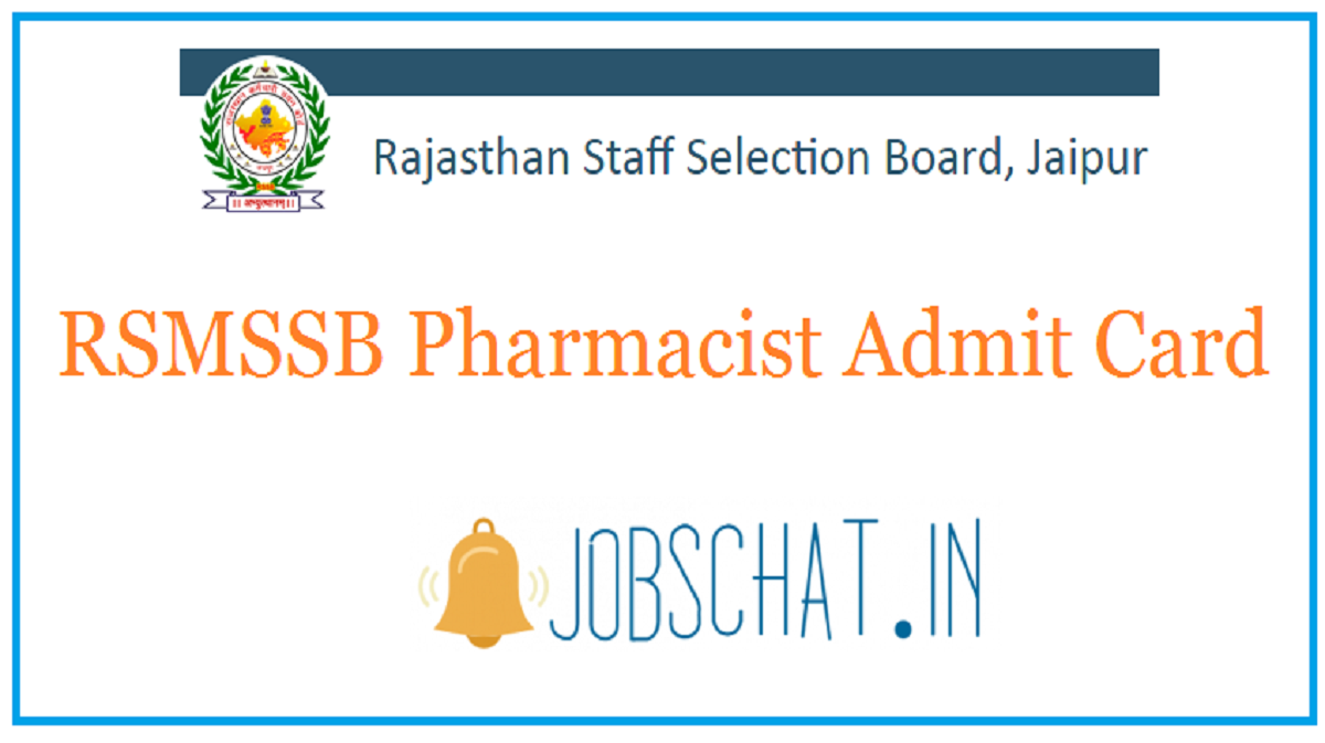 RSMSSB Pharmacist Admit Card