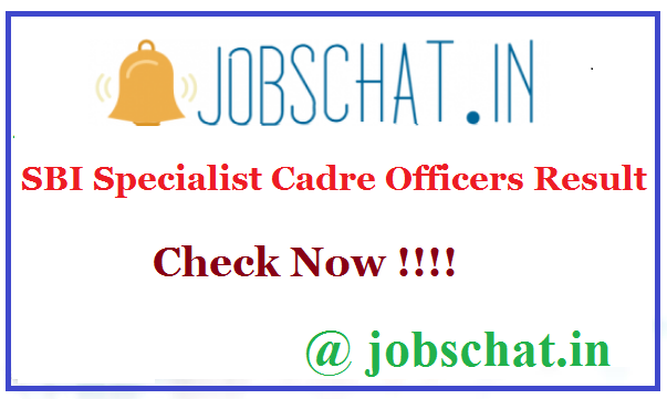 SBI Specialist Cadre Officers Result