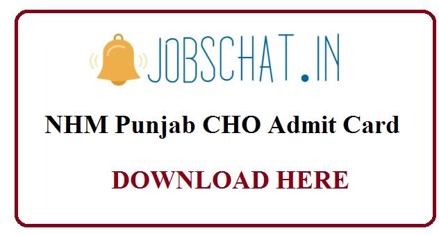 NHM Punjab CHO Admit Card