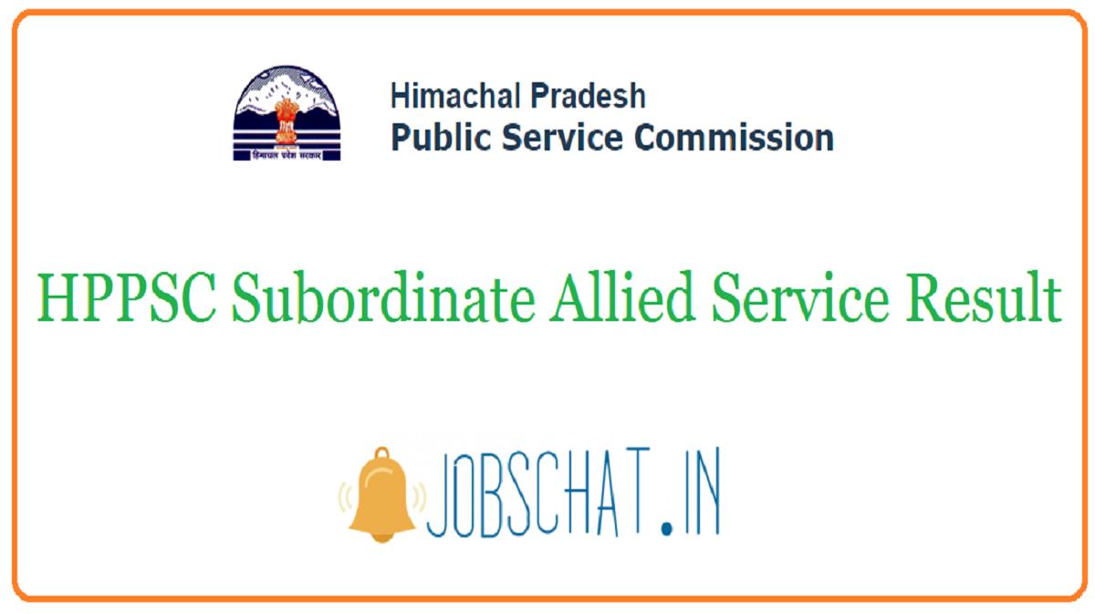 HPPSC Subordinate Allied Service Result