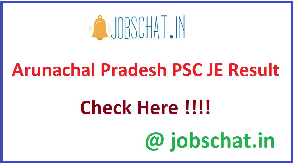 Arunachal Pradesh PSC JE Result