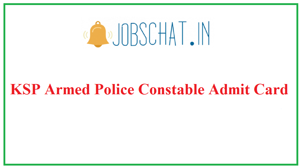 KSP Armed Police Constable Admit Card