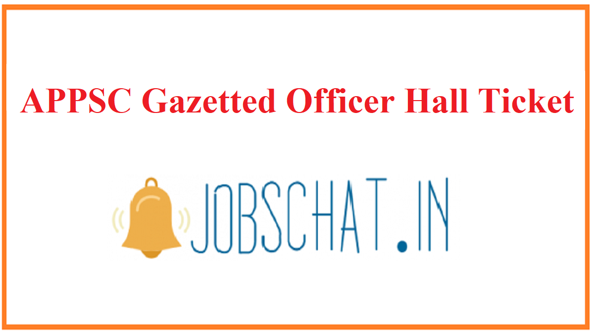 APPSC Gazetted Officer Hall Ticket