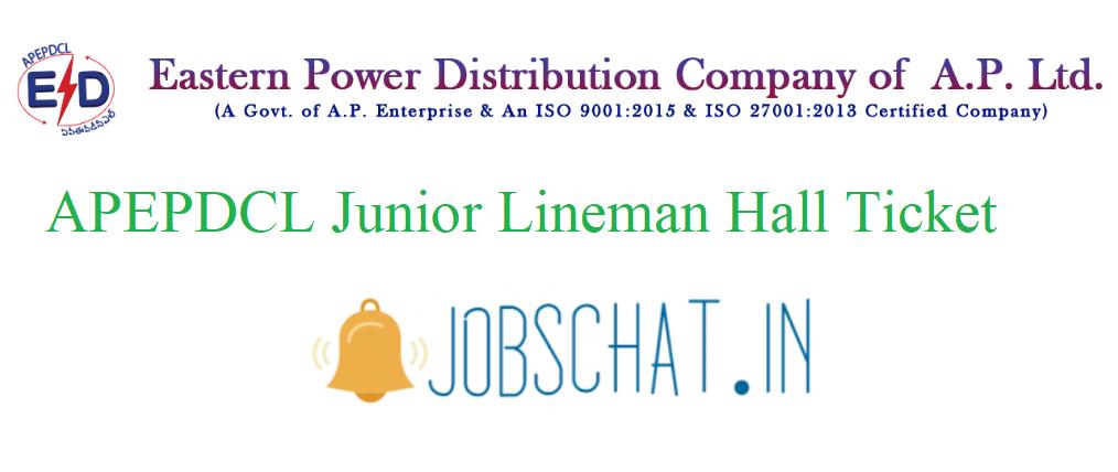APEPDCL Junior Lineman Hall Ticket
