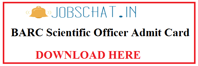 BARC Scientific Officer Admit Card