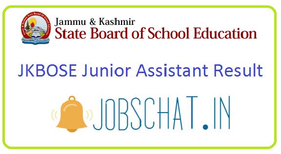 JKBOSE Junior Assistant Result