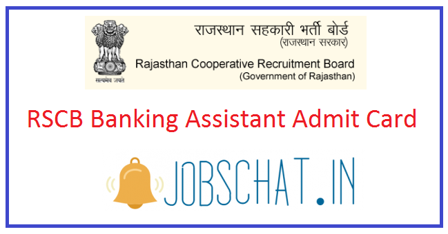 RSCB Banking Assistant Admit Card