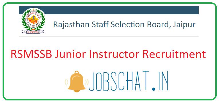 RSMSSB Junior Instructor Recruitment