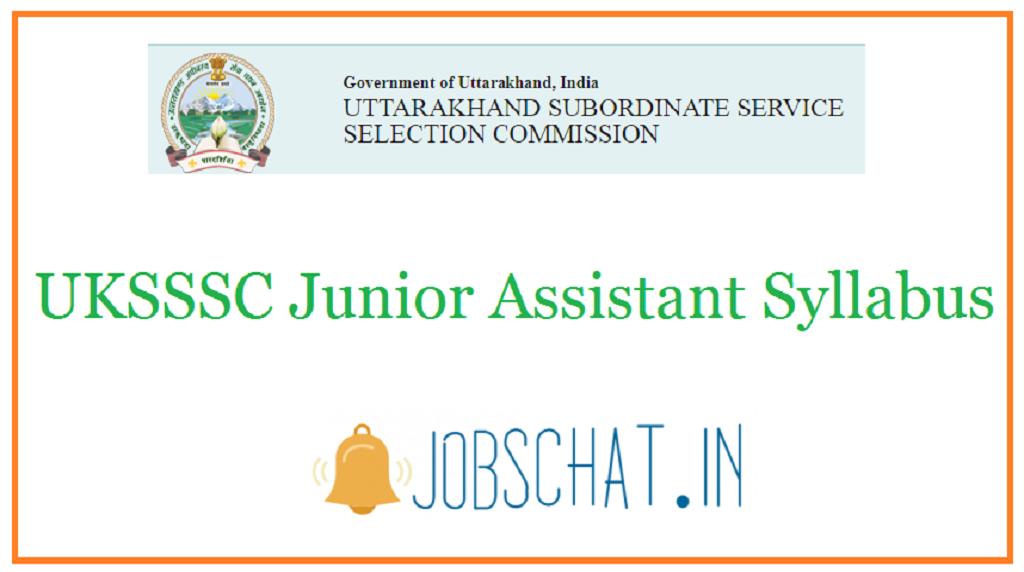 UKSSSC Junior Assistant Syllabus