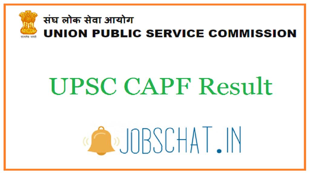 UPSC CAPF Result
