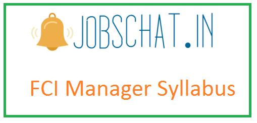 FCI Manager Syllabus