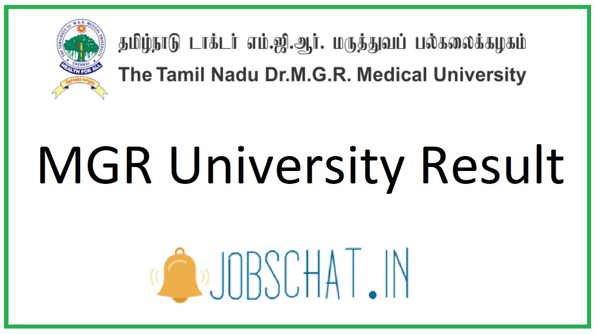 MGR University Result