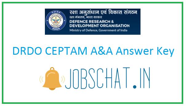 DRDO CEPTAM A&A Answer Key