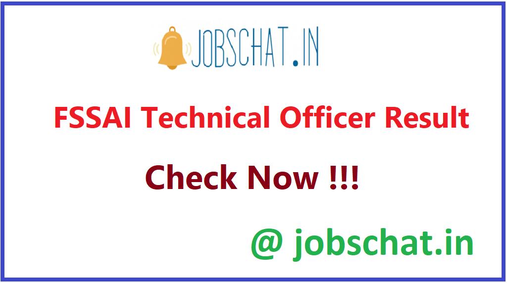 FSSAI Technical Officer Result