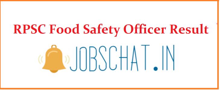 RPSC Food Safety Officer Result