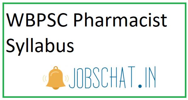 WBPSC Pharmacist Syllabus