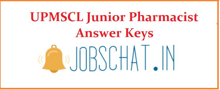 UPMSCL Junior Pharmacist Answer Keys