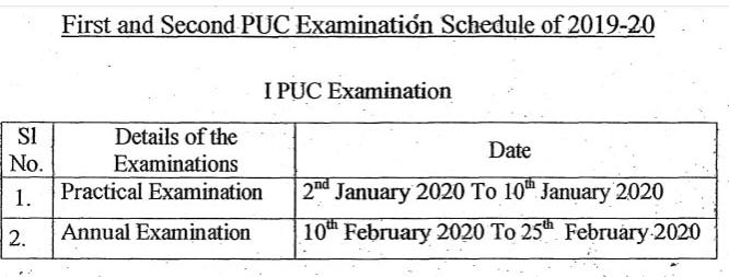 Karnataka First PUC Time Table