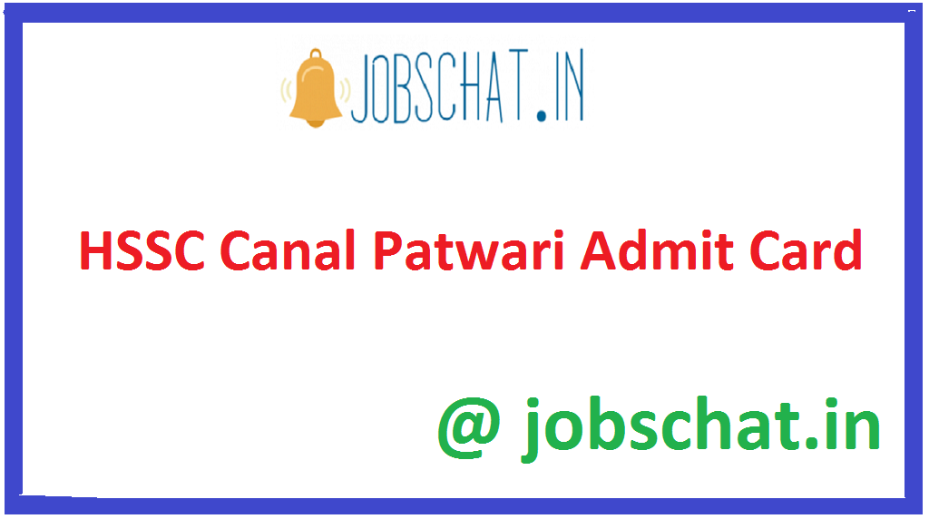 HSSC Canal Patwari Admit Card
