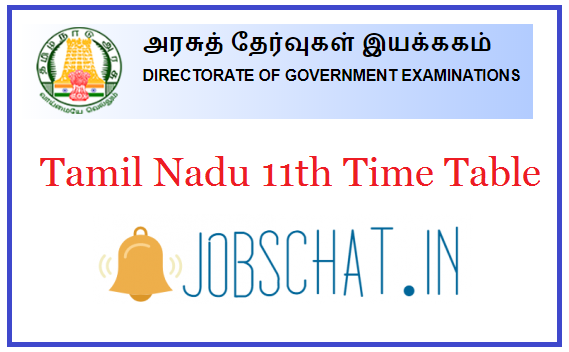 Tamil Nadu 11th Time Table