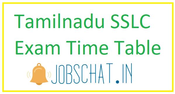 Tamilnadu SSLC Exam Time Table