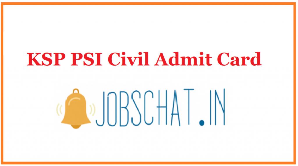 KSP PSI Civil Admit Card