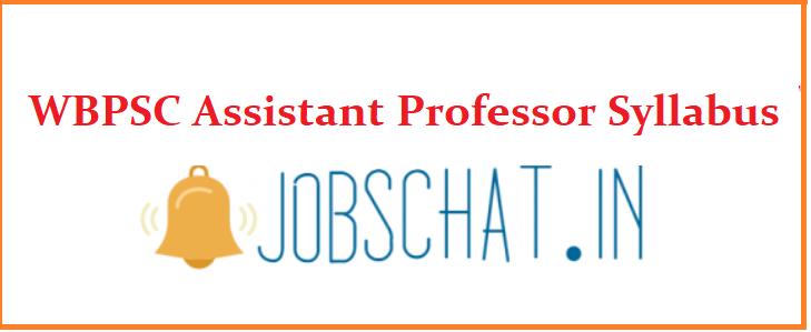 WBPSC Assistant Professor Syllabus