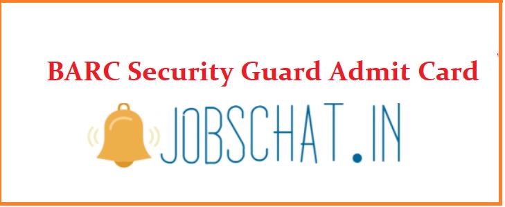 BARC Security Guard Admit Card