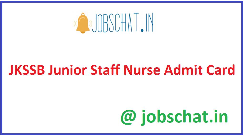 JKSSB Junior Staff Nurse Admit Card