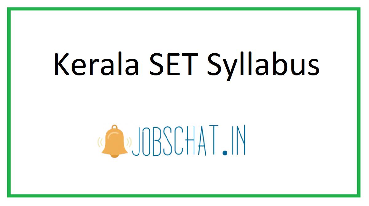 Kerala SET Syllabus