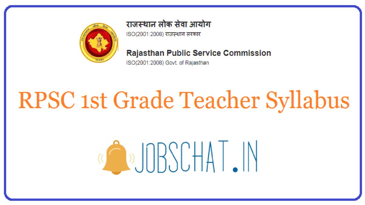 RPSC 1st Grade Teacher Syllabus